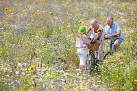 Senior couple standing with bicycles in field of wildflowers greeting granddaughter