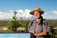 Portrait of a female National Park Service Ranger at the Wrangell_St. Elias National Park Visitor Center in Copper Center, Southcentral Alaska, Summer