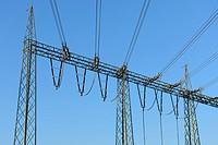 High voltage transmission lines at Grafenrheinfeld Nuclear Power Plant, near Schweinfurt, Lower Franconia, Bavaria, Germany, Europe