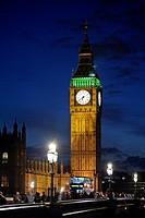 Big Ben and Westminster Bridge at dusk, London, England, United Kingdom, Europe