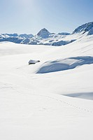 Snow-covered mountain landscape, Tignes, Val d'Isere, Savoie, Alps, France, Europe