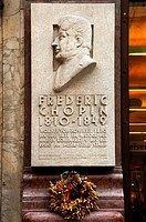 Plaque to Frederic Chopin on a residential home where he lived for a year, Kohlmarkt square, Vienna, Austria, Europe