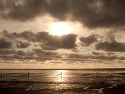 Cloudy sky, beach, low tide, Norddeich, East Frisia, Lower Saxony, Germany, Europe