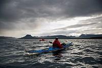 Kayakers, kayak trip to Vigur Island, Ísafjarðardjúp, Isafjardardjup fjord, Westfjords, Iceland, Europe