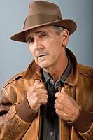 Man in leather jacket-studio
