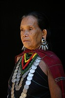Closeup of an older Longneck woman Approximately 300 Burmese refugees in Thailand are members of the indigenous group known as the Longnecks The large...