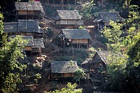 Closeup of refugee huts in a camp in Mae Sot Around 130,000 Burmese refugees have settled in Thailand due to opression in their homeland of Myanmar Bu...