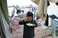 Displaced camp in Muzafarabad where people from destroyed village receive shelter and help from aid organizations On 8 october 2005, a severe earthqua...