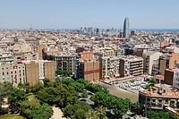 View from one of the towers of La Sagrada Família, Basílica i Temple Expiatori de la Sagrada Família, Basilica and Expiatory Church of the Holy Family...