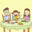 Happy family having a meal together