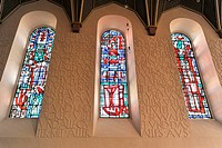 Stained-glass windows, interior view, Dreifaltigkeitskirche church, Worms, built between 1709 and 1725, Worms, Rhineland-Palatinate, Germany, Europe