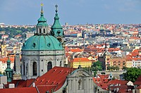 Panoramic view across the historic centre of Prague, UNESCO World Heritage site, with St Nicholas Cathedral, Prague, Bohemia, Czech Republic, Europe, ...