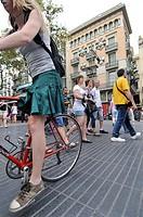 People on La Rambla  Barcelona  Catalonia  Spain