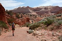 Hiker on the Wire Pass Trail on the way to Buckskin Gulch, Paria Canyon_Vermilion Cliffs Wilderness Area, Utah, United States of America