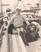 President Franklin Roosevelt on his schooner the Amberjack II. He sailed from Marion Massachusetts to Campobello in June 1933 during his first trip ba...
