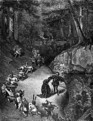 Beauty and the Beast, number of servants, cook carrying food, forest, girl and man, illustration from Perrault's Fairy Tale by Charles Perrault, illus...