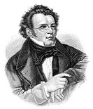 Historic drawing from the 19th century, portrait of Franz Peter Schubert, 1797 - 1828, an Austrian composer