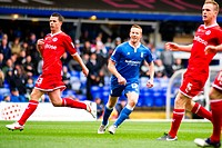 28 04 2012 Birmingham, England Birmingham City v Reading Adam Rooney Birmingham City watches the ball hit the net to score the first goal during the N...