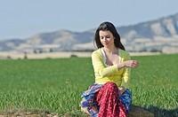 Beautiful girl enjoy in the meadow