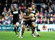 High Wycombe, England Tom Varndell of London Wasps in action during the Aviva Premiership match London Wasps vs Newcastle Falcons at Adams Park, High ...
