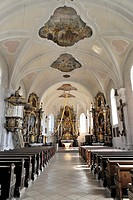 Interior view, Church of the Assumption of Mary, first mentioned in 1179, Bad Koetzting, Bavaria, Germany, Europe