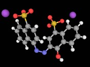 Azorubine, molecular model. Synthetic red food dye. Atoms are represented as spheres and are colour_coded: carbon grey, hydrogen white, nitrogen blue,...