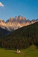St. Johann church in Ranui in front of the Geislerspitzen, Olde Geisler group in the Dolomites, South Tyrol, Italy, Europe