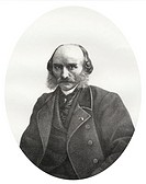Historic lithography from the 19th century, portrait of Auguste Edmond Texier, 1816 - 1881, a French writer