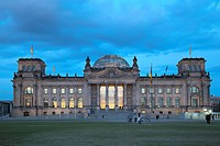 Reichstag building at dusk, Berlin, Germany, Europe, PublicGround
