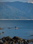Shirakami_sanchi and fishing boat