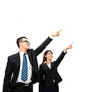 asian businessman and businesswoman pointing at so