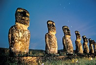 These ´moais,´ carved monoliths of ancestral gods, are believed to date from the 13th or 14th century  Easter island lies 2,100 miles off the coast of...