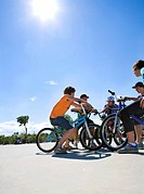 Group of teenagers on bikes