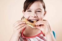 Girl eating a waffle