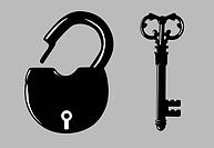 padlock silhouette on gray background