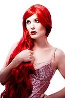 Wavy Red Hair woman. Fashion Girl Portrait. glamorous dress