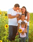 Happy young family with children