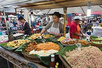 Food stall at the night market, cookshop, Krabi Town, Krabi, Thailand, Southeast Asia, Asia