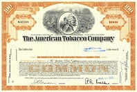 Historic share certificate, The American Tobacco Company, ATC, 1965, New Jersey, USA