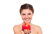 Beautiful brunette with the red apple