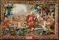 The Defeat of Marsin, August 31, 1667, 17th century French tapestry woven by Jean-Baptiste Mozin, based on a cartoon by Ballin, from the series Story ...