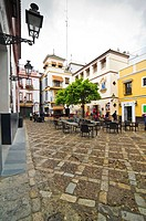 Square and terrace in Santa Cruz district of Seville Andalusia, Spain, Europe