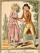 Fashion, France, 18th century. French couple in 1791. Engraving.  Paris, Bibliothèque Des Arts Decoratifs (Library)