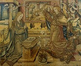 Annunciation, 15th century Flemish tapestry based on a cartoon by Justus van Gent.  Fermo, Pinacoteca Civica Palazzo Dei Priori (Art Gallery)