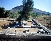 The remains of the Artemis temple in Aulis, Boeotia (Greece). Greek Civilization, 5th Century BC.