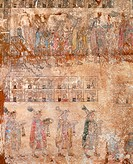 Painting depicting a scene of figures making offerings, artefact from Cacaxtla (Tlaxcala, Mexico). Pre-Colombian Civilization, classical period 250 BC...