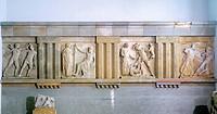 Metopes from Temple E in Selinunte, Sicily, Italy. Ancient Greek civilization, Magna Graecia, 5th Century BC.  Palermo, Museo Archeologico Regionale (...