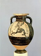 Amphora. Black-figure pottery from Tarquinia (Lazio). Etruscan civilization, 6th Century BC.  Geneva, Musée D'Art Et D'Histoire (Art Museum)