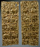 Gold foil with embossed decoration from Delphi (Greece). Goldsmith art, Greek Civilization, ca 6th Century BC.  Delphi, Museum (Archaeological Museum)