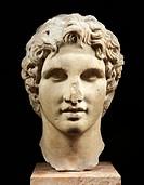 Head of Alexander, Hellenistic sculpture in Pentelic marble, Greece. Greek civilization, 1st Century BC.  Athens, Moussío (Acropolis Museum, Archaeolo...
